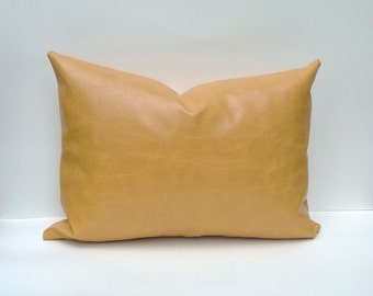 Decorative Pillow Cover Faux Leather In Mustard 14 x 20, 12 x 18, 16 x 16 Square, Lumbar, Many Sizes