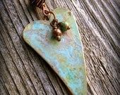 Heart Necklace in Mixed Metals with Turquoise and Copper Beads