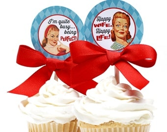 Retro Housewife Bridal Shower Cupcake Toppers - PERFECT HOUSEWIFE Printable