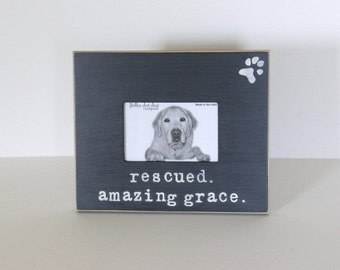 rescue dog picture frame, dog gift, pet gift, distressed picture frame
