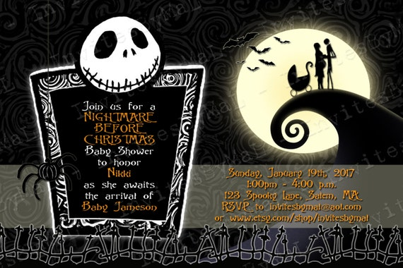 Nightmare Before Christmas Baby Shower Invitation (Orange Font can be ...