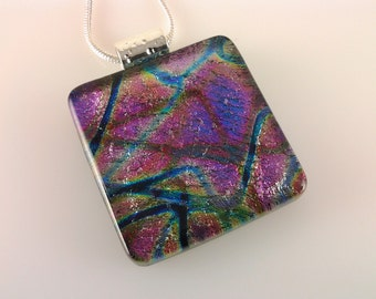 Dichroic Glass Pendant, Fused Glass Jewelry, Rainbow Jewel Tones Necklace