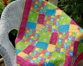 Baby Girl Handmade Patchwork Quilt, Daisy Flowers, Pink Lime Turquoise, Floral, Flannel, Happy, Bright, Colorful, Unique, Made in USA