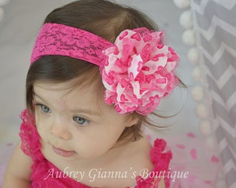 Valentines Day headband, baby girl headband, Lace headband, baby hair bow, pink headband, newborn headband, infant headband, accessories