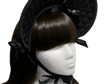 Lovely Black Quilted Gothic and Lolita Bonnet - Made to Order