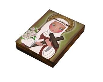 "Folk Art  Painting, ""St. Catherine"", Print on Wood (3 6/8 x 4 4/8 8.5x11.5 cm), Mixed Media, Wall Decore by Evona"