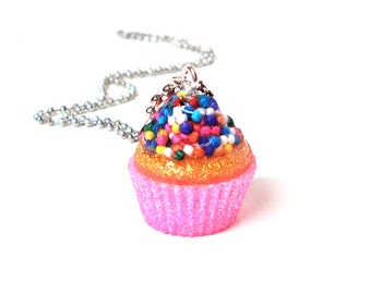 Cupcake necklace, cupcake jewelry, pink cupcake pendant, candy resin pendant, sprinkles jewelry, gift for girls, food jewelry