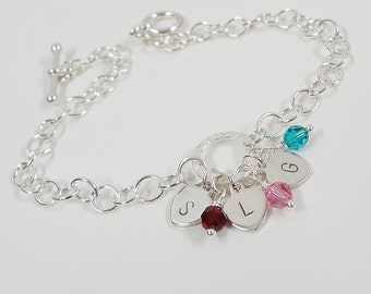 Sterling Silver Initial Bracelet with Birthstones - Three Initial Bracelet - Hand Stamped Sterling Silver - Mommy Jewelry