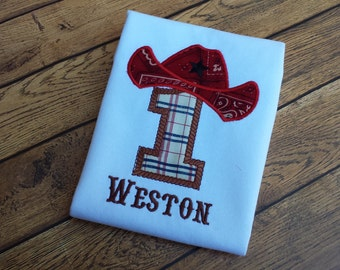 Western Cowboy Birthday Shirt - Cowboy Hat Applique - Initial or Number Western Shirt - Bandana Applique Cowboy Hat