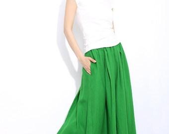 Green linen skirt maxi skirt women long skirt C310