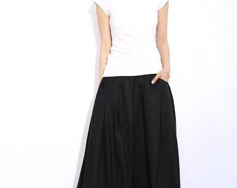 Romantic Linen Maxi Skirt  in black C319