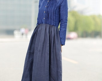 Linen dress blue dress Long Sleeve Dress C356