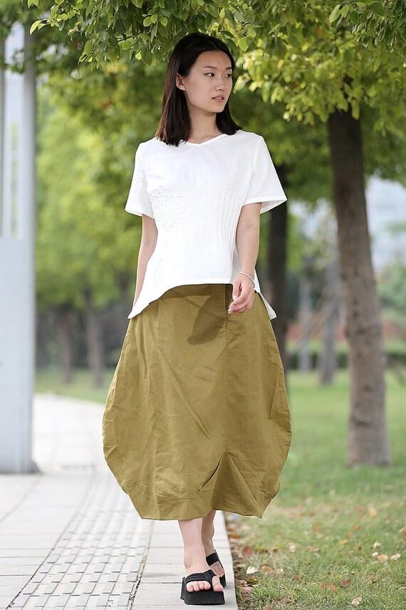 Linen Maxi Skirt - Flower Bud Shape Romantic Feminine Trending Womens Skirt Handmade Clothing - C287