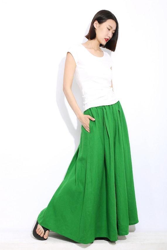 green linen skirt maxi skirt skirt c310