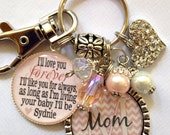 MOM GIFT, Personalized Name keychain I'll love your forever I'll like you for always, as long as I'm living your baby I'll be Mom Nana pink