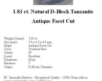 TANZANITE - 1.83 cts of Flawless Violetish Blue D-Block Tanzanite in a Stunning Antique Facet Cut...