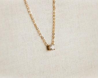Teeny tiny cubic zirconia necklace