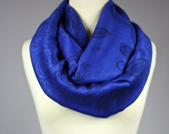Cobalt blue scarf, paisley scarf, pashmina, blue scarf, fall scarf , fall accessories