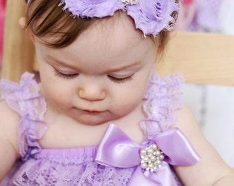 Baby Headband, Infant Headband, Newborn Headband - Shabby Chic Headband Lavender Headband, Purple Headband, Easter Headband
