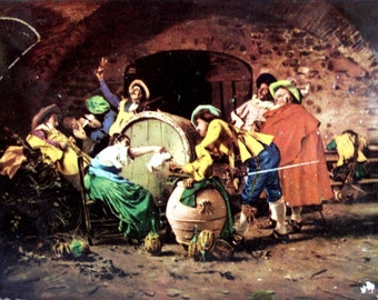 A Good Vintage. Francesco Vinea, TIN BOX, Old & Shabby. Den scene, Happy wine drinkers around barrel, merry party. Italian painter, painting
