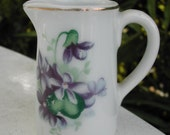 Tiny Porcelain Pitcher with Violets Cottage Chic