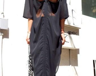 Black Chiffon Extravagant  Loose  Shirt/ Asymmetrical shirt/ Oversize Summer  Top A11116
