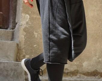 Loose Casual Black Drop Crotch Harem 7/8 Pants / Extravagant Black Pants/Unisex Cotton Pants A05135