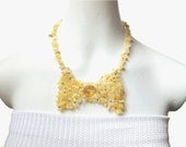 EVENING CHIC women's bowtie choker necklace yellow aragonite chic accessory