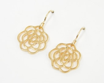 Gold Rose Earrings, Gold Flower Silhouette Earrings