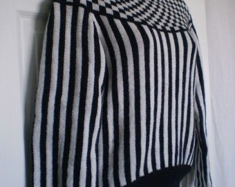 VALLEY GIRL Black And White Checked And Striped Sweater