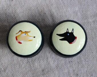 dog knobs, knob, knobs with dog design, dog image, hand painted dresser knob, black dog, brown dog, cabinet knob, drawer pull for pet lover.