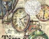 PRINT:  Old Clocks Drawn on Dictionary Page