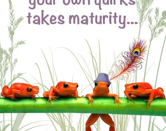 Unique Insprational Greeting Card With Orange Frogs About Individuality: Don't Change A Thing