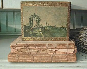 Italian Florentine Wood Box / Italian Scene / Gold Gilt / Green / Trinket Box