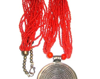 Vintage Tribal Necklace, beaded Necklace, red necklace, Necklace, Ethnic jewelry with pendant
