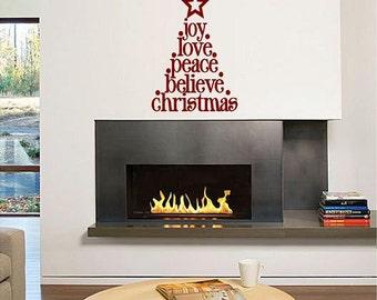 Christmas Tree Word Tree (Christmas Holiday Vinyl Wall decal)