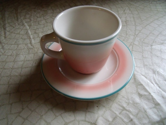 Collectible 1990s HOMER LAUGHLIN Cup And Saucer Pink With Aqua Trim Restaurant Wear EED-1