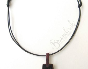 Unique Handmade Pendant - pendant made by cherry wood, mahogany aluminum tube and leather cord