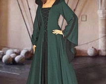 Medieval Renaissance Maiden Dress Gown with Hood
