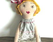 Tess : Handmade Rag Doll - Soft Cloth Doll - 15 Inches Eco Friendly - Gray with White Polka Dots - Vintage & Recycled Textiles