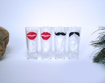 4 Mustache and Lips Shot Glasses - Mustache Shot Glass - Birthday Gift - Choose Your Style and Color