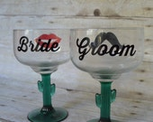 Fun and Festive Bride and Groom Custom Margarita Glasses