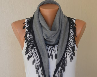 Lace scarf-Reversible gray and black chunky cotton scarf-Winter scarf-Boho scarf-Gypsy scarf-Accessory-Gift for her-Christmas gifts