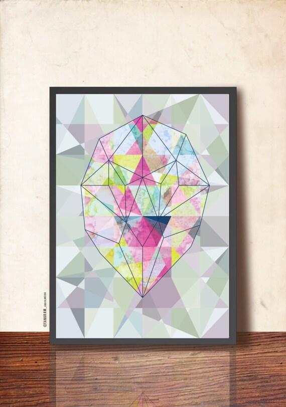 geometric art poster abstract wall decor radiant gem stone
