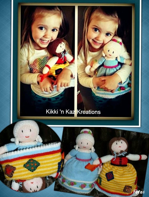 Knitting Pattern For Upside Down Cinderella Doll : Cinderella Topsy Turvey Knitted Doll by KikkinKazKreations on Etsy