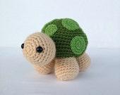 Crochet Turtle Stuffed Animal in Tan and Green