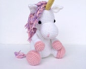 Crochet Unicorn Horse Stuffed Animal in Pink and White