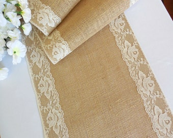 Burlap table runner with ivory lace wedding table runner rustic romantic wedding