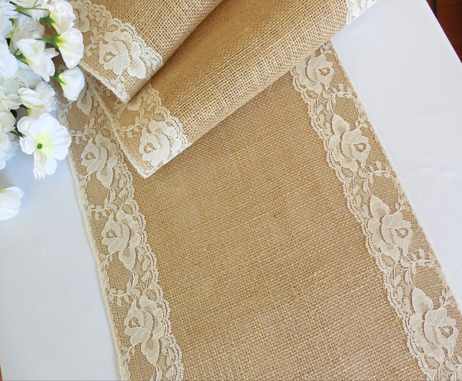 Burlap table runner with ivory lace wedding table runner