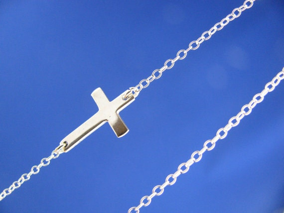 Sideways Cross Two tones Necklace, Sterling Silver Cross Gold Filled chain, Horizontal Cross Necklace, Most popular items for Spring.
